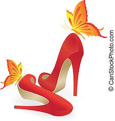 vermelho, sapatas elevado-high-heeled