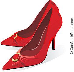 vermelho, sapato, calcanhar, alto
