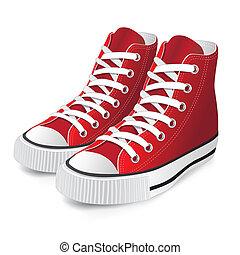 vermelho, sapato, esportes