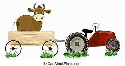 vermelho, vaca, trator, carreta
