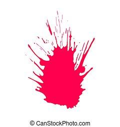 vermelho, vetorial, desenhado, mão, splatter.