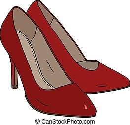 vermelho, womans, sapatos