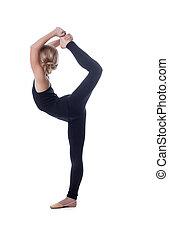 vertical, posar, divisão, flexível, magro, menina