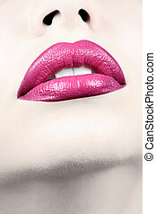 vertical, tiro., lábios, femininas, sensual, closeup.