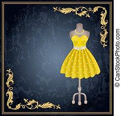 vestido, dummy., estilo, pontos polka, retro, na moda