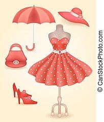 vestido, estilo, acessórios, retro, na moda