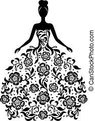 vestido floral, menina, ornamento, silueta