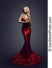 vestido, moda, vestido, beleza, elegante, slinky, mulher, posar, elegante, modelo, menina, roupas vermelhas