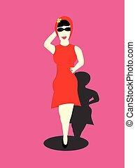 vestido, mulher, vermelho