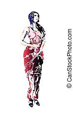 vestido vermelho, isolado, jovem, sketch., femininas, bonito, gravura, imitação, vetorial, branca, silueta, arte, illustration., drawn., mão, experiência., pose., menina, beleza, excitado