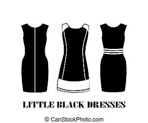 vestidos, pequeno, pretas, jogo