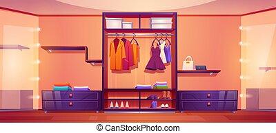 vestindo, ou, walk-in, quarto completamente, armário, roupas