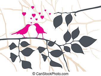 vetorial, árvore, -, ame pássaros