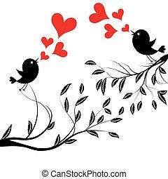 vetorial, árvore, pássaros, ilustração