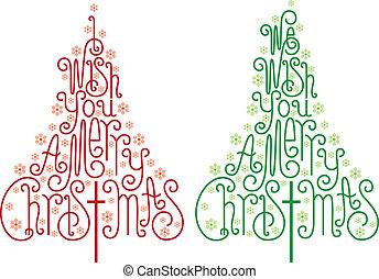vetorial, árvores, natal