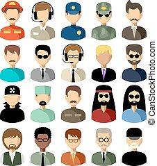 vetorial, ícones, jogo, apartamento, men., ilustração