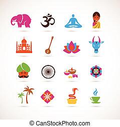 vetorial, índia, cobrança, ícones