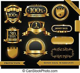 vetorial, 100%, guaranteed, etiqueta, satisfação, proteção, sinal