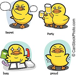 vetorial, 2, jogo, caricatura, pato