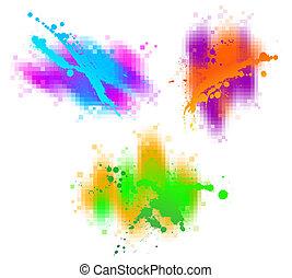 vetorial, abstratos, elementos, desenho, coloridos