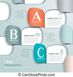 vetorial, abstratos, papel, infographics, origami, 3d