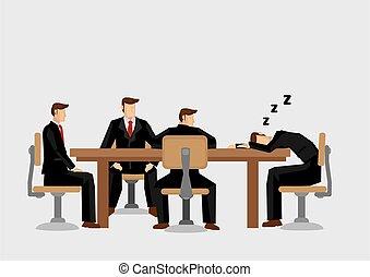 vetorial, adormecido, queda, ilustração, caricatura, reunião, negócio, durante