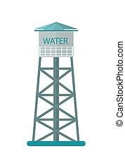 vetorial, agricultura, torre, água, ícone