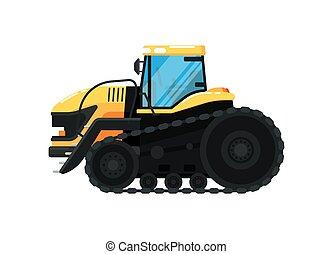 vetorial, agricultura, trator, ilustração, crawler