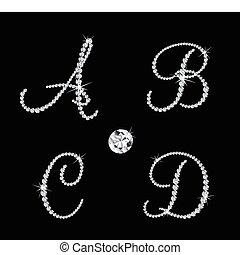 vetorial, alfabético, diamante, jogo, letters.