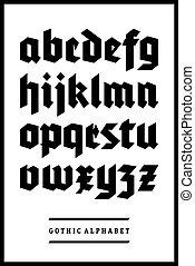 vetorial, alfabeto, fonte, gótico, tipo