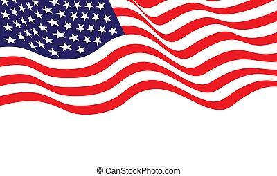 vetorial, américa, bandeira, branca, unidas, illustration., fundo, onda, estado