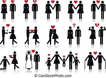 vetorial, amor, jogo, ícone, pessoas