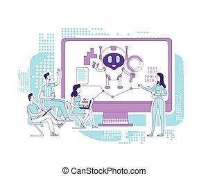 vetorial, analistas, conceito, teia, analytics, bot, procurar, internet, design., ai, software, criativo, caráteres, 2d, idéia, illustration., automatizado, lecture., desenvolvimento, robô, caricatura, negócio, linha, magra