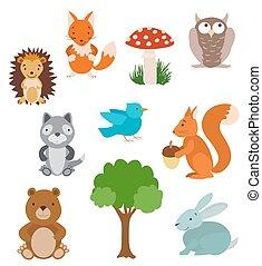 vetorial, animals., cobrança, árvore, cute, caricatura, jogo, mushroom., floresta
