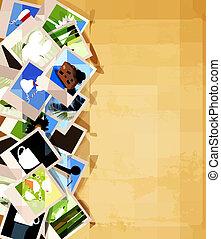vetorial, antigas, coloridos, fotografias, experiência., papel