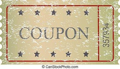 vetorial, antigas, cupão, vindima, venda, papel