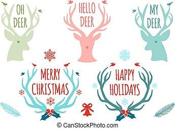 vetorial, antlers, jogo, veado, natal