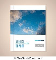 vetorial, anual, cobertura, relatório, ilustração