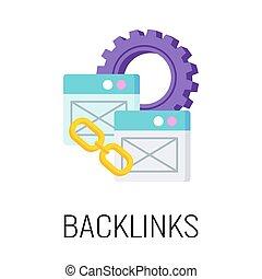 vetorial, apartamento, backlinks, optimization., seo, ilustração, icon.