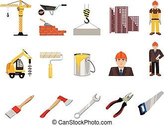 vetorial, apartamento, jogo construção, ícone