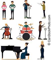 vetorial, apartamento, jogo, pessoas, ícones, orquestra, sinfonia