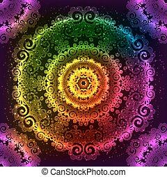 vetorial, arco íris, mandala, néon, ornate