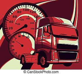 vetorial, arte, desenho, ilustração, caricatura, semi caminhão