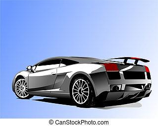 vetorial, automóvel, concept-car, mostrar, ilustração