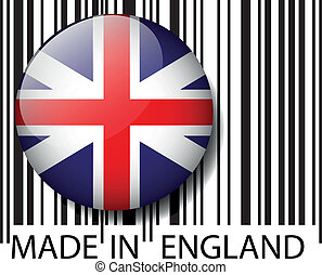vetorial, barcode., feito, inglaterra, ilustração