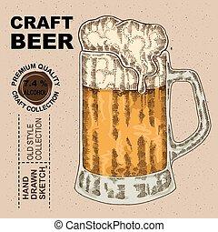 vetorial, bebida, beer., álcool, vidro, mão, desenhado, ilustração, esboço