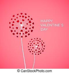 vetorial, blowball, love., feliz, dia, dandelion, saudação, experiência., símbolo, hearts., coração, cor-de-rosa, cartão, valentine, par, branco vermelho