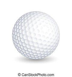 vetorial, bola branca, golfe, fundo