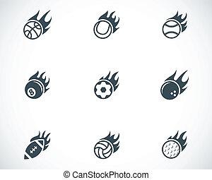 vetorial, bolas, ícones, fogo, jogo, pretas, desporto
