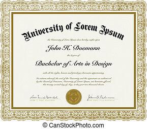 vetorial, borda, diploma, ornate